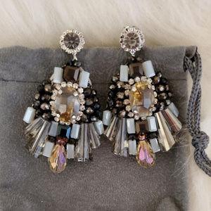 Grey and Black Bead Earrings